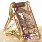 Retro Estate Amethyst Diamond 14K Gold Cocktail Ring