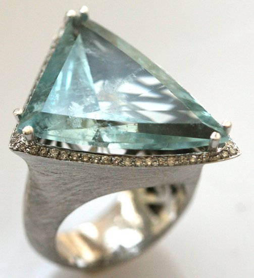 Retro Estate 25.50ct Aquamarine Diamond 14K White Gold Cocktail Ring