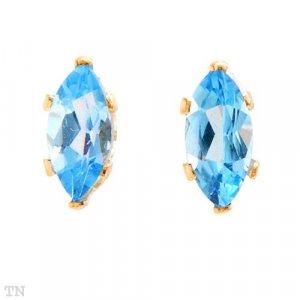 14K Gold and Genuine Blue Topaz Earrings