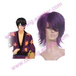 Purple Gintama Takasugi Shinsuke 35cm Anime Nylon   Halloween Cosplay wig