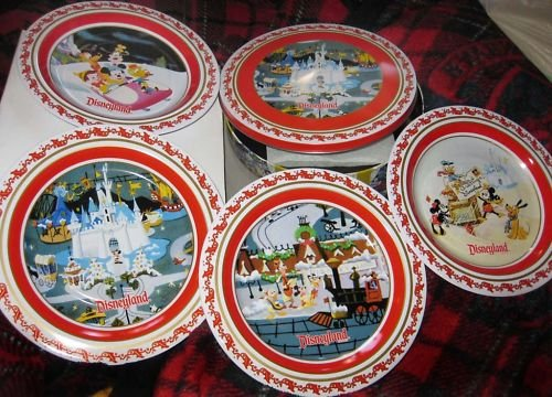 Set of 4 Disney Christmas tin plates + container from Disneyland!