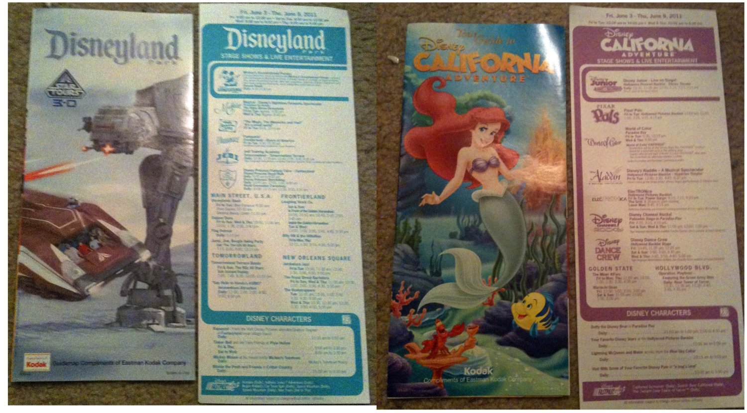 Disneyland Star Tours & California Adventure Little Mermaid OPENING DAY guides