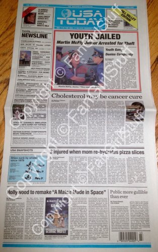 Back To The Future BTTF USA TODAY newspaper Hill Valley Edition 10/22/15
