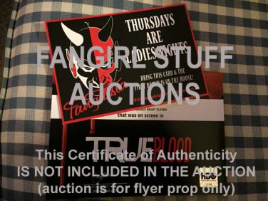 True Blood Fangtasia Ladies Night Flyer - onscreen prop from Aug2014 HBO Auction