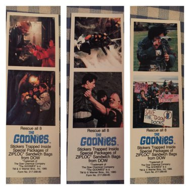 3 different RARE 1985 promo Goonies Ziploc bag stickers - 3 of 4 in series, almost complete set!!
