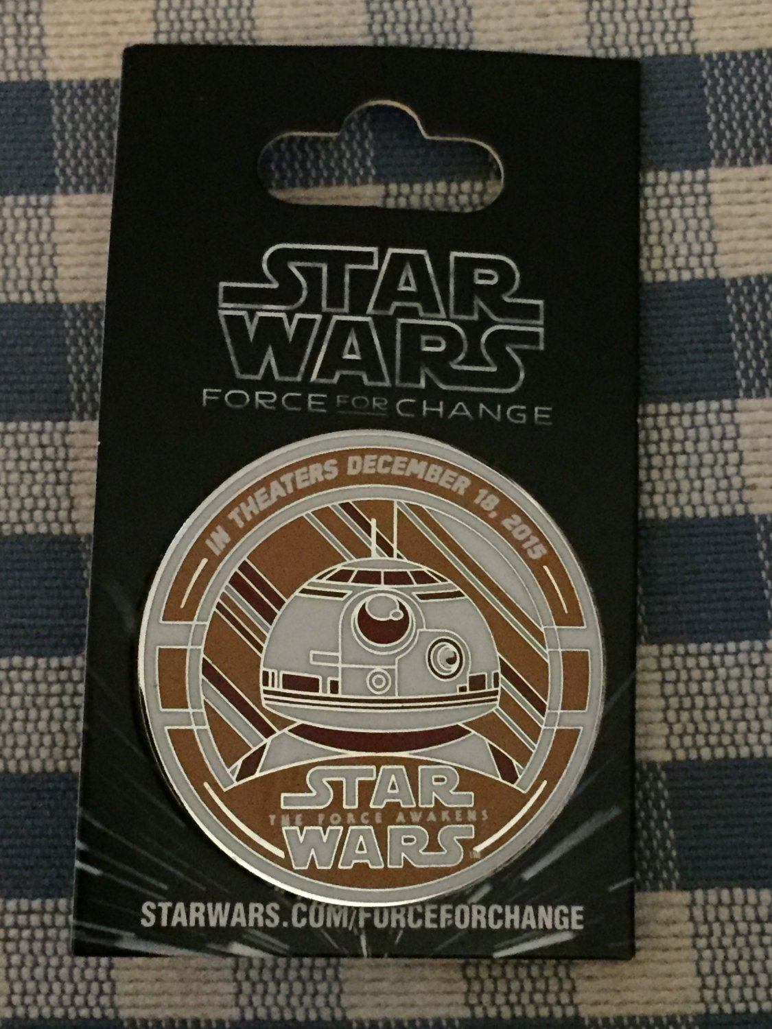 2015 D23 Expo STAR WARS: Force For Change BB8 The Force Awakens DATED WALT DISNEY Pin LE