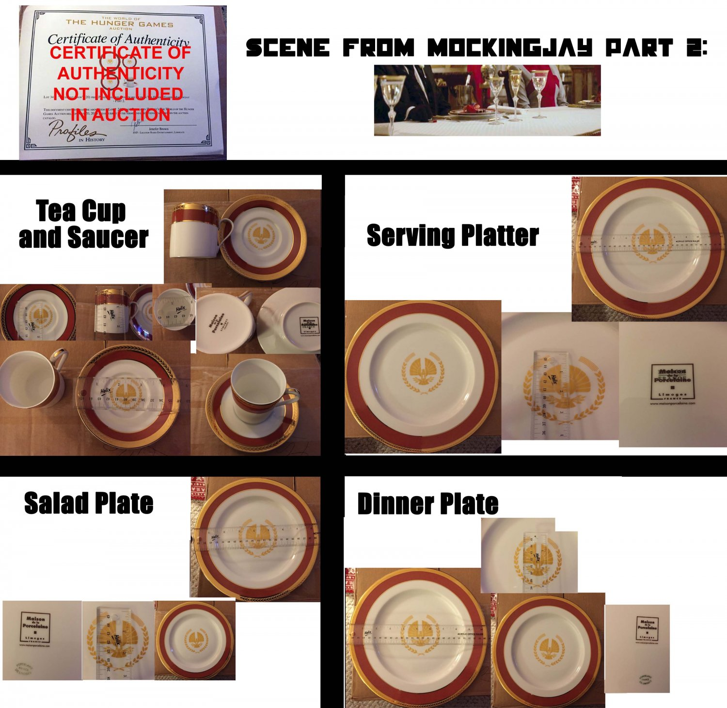 President Snow teacup, saucer, salad, dinner & serving plates - onscreen props from Mockingjay Pt. 2