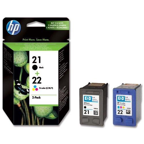 New Genuine HP 21 + 22 Combo Ink Cartridges