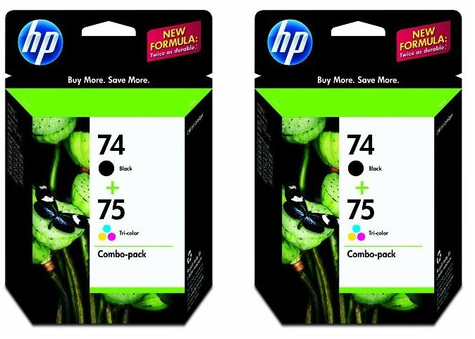 Two Sets: New Genuine HP 74 + 75 Combo Ink Cartridges