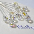 10 Swarovski 8mm Round Crystal Stem for Wedding Bouquet Flower or Cake Topper Decoration