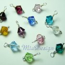 12 pcs of 6mm Swarovski Crystal Birthstone Pendant or Charm with Sterling Silver Jump Ring