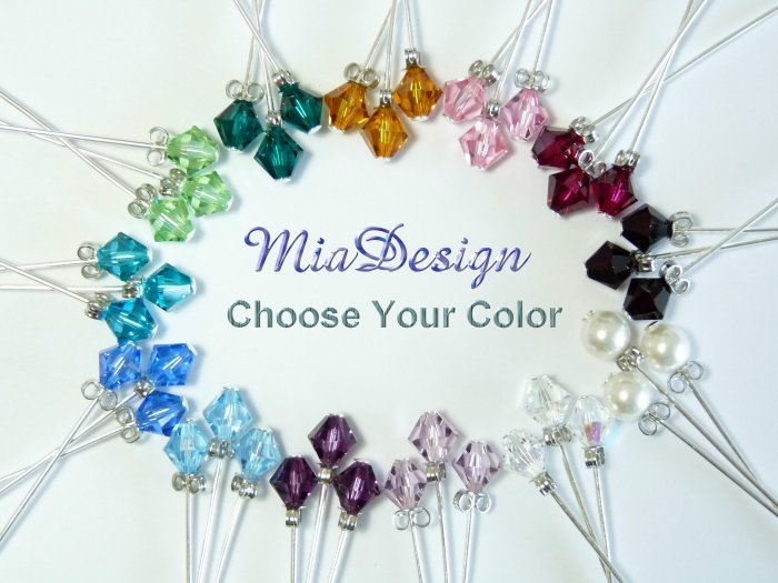 48 Swarovski 6mm Crystal / Pearl Stem Wedding Flower Bouquet Decoration (choose colors u want)