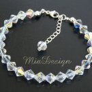 Swarovski Crystal Sterling Silver Bracelet - Bride / Bridesmaid / Birthday w/Birthstones