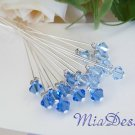 Swarovski Crystal Stem for Wedding Bouquet / Cake Topper Decoration - Something Blue