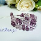 Swarovski Crystal 925 Sterling Silver Cuff Bracelet for Wedding Bride or Gift to Bridesmaid - Purple