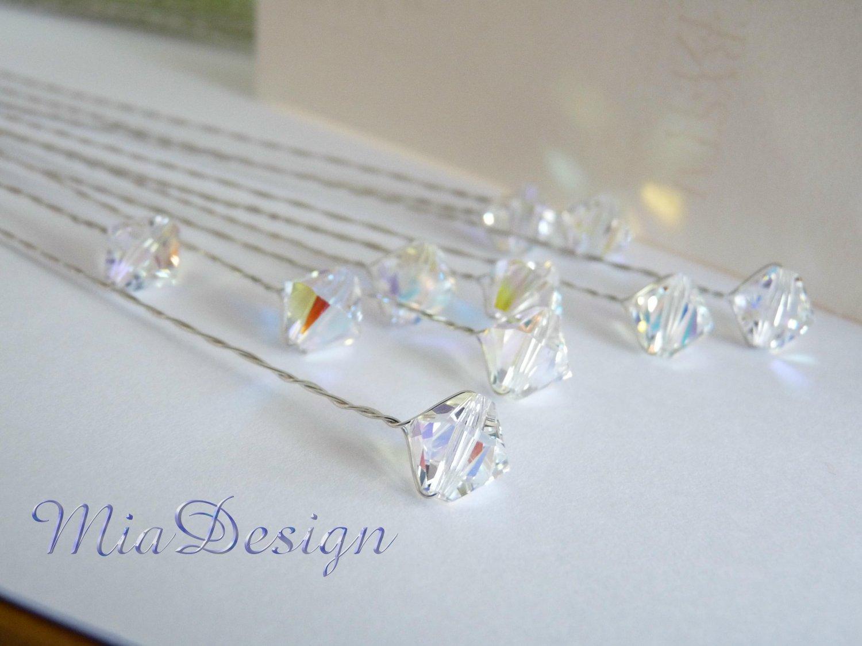 "10 pcs of Swarovski 8mm Clear AB Crystal 8"" Stems - Wedding Flower Bouquet Centerpieces Decoration"