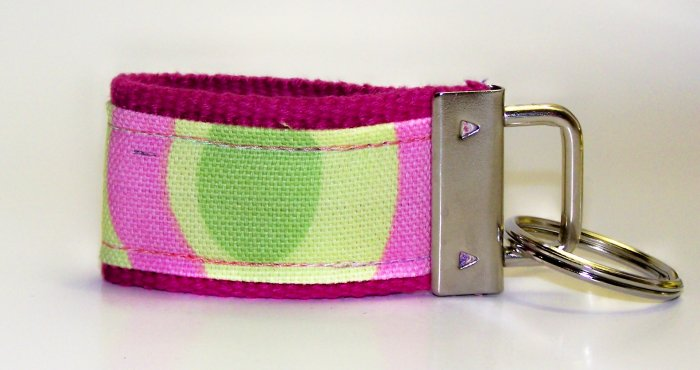 Fuchsia/Pink with Multi-Color Circles~Mini Finger Key FOB