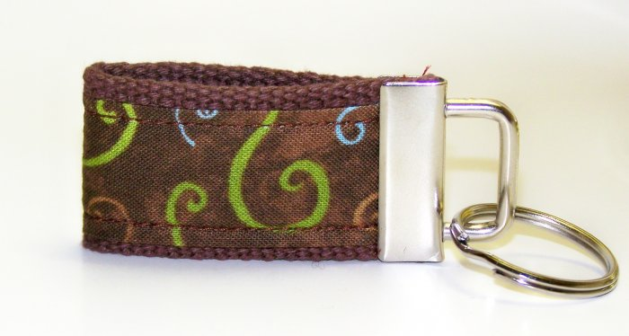 Chocolate Brown with Swirls Design~Mini Finger Key FOB