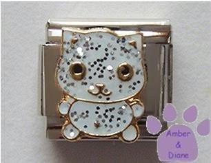Adorable white glitter enamel cat Italian Charm