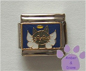 Angel Cat Italian Charm - Kitten with Wings and a Halo