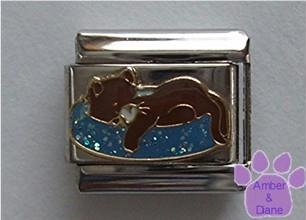 Brown cat napping on blue glitter bed Italian Charm