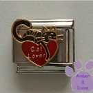 Cat lover on red heart with black cat Italian Charm