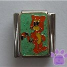 Orange cat on green glitter Italian Charm