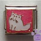 Pretty white cat on pink glitter background Italian Charm
