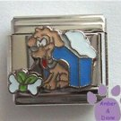 Dog in Doghouse Italian Charm and Bone with Ribbon