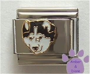 Gorgeous Black and White Husky Dog Italian Charm
