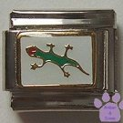 Gecko Lizard on White Background Italian Charm