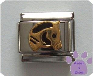 Horse's Head Italian Charm in Gold tone