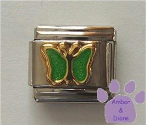Emerald Green Glitter Butterfly Italian Charm for May birthday