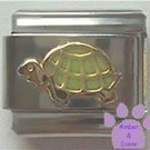 Cute Smiling Turtle Italian Charm with Pale Green Shell