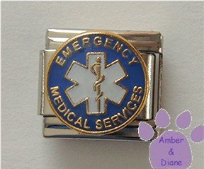 EMERGENCY MEDICAL SERVICES Italian Charm on blue enamel disc
