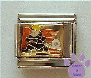 Fire Fighter Italian Charm - Fireman with Hose and Flames