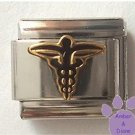 Black Caduceus Medical Symbol Italian Charm for Doctor or Nurse