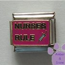 NURSES RULE Italian Charm with a Hypodermic Syringe or Needle