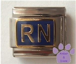 RN Italian Charm on deep blue background for Registered Nurse