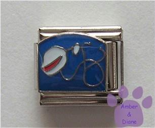 Stethoscope and White Nurse's Cap Italian Charm on blue