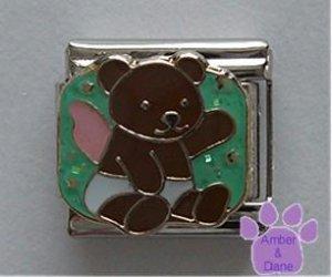 Angel Teddy Bear Italian Charm on Green Glitter Background