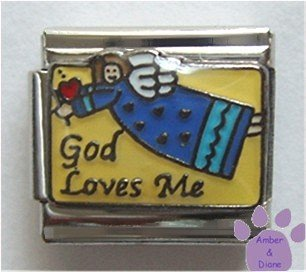 God Loves Me Angel Italian Charm