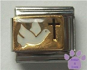 Dove for Peace and Cross for Faith Italian Charm
