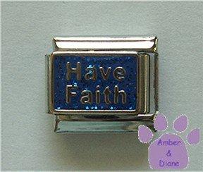 Have Faith Italian Charm on blue glitter enamel