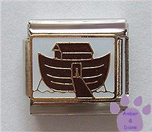 Noah's Ark Italian Charm Cute Brown Ark on Golden Waves