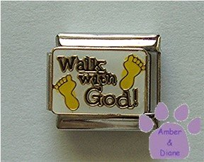 Walk with God Italian Charm with footprints on white enamel