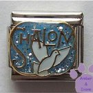 Shalom and White Dove of Peace Italian Charm on Blue Glitter