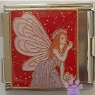 Beautiful Purple Fairy Italian Charm Megalink on red glitter