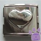 Shiny Silvertone Puffed Heart Italian Charm Megalink