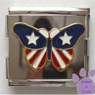 Butterfly American US Flag Italian Charm Megalink